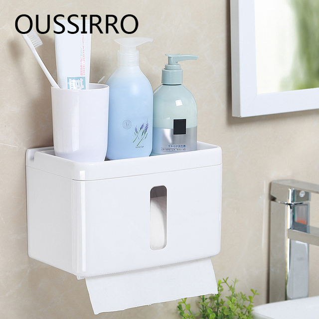 1Pcs Toilet Paper Holders With Cover Bathroom Accessories Modern Style  Plastic Storage Box Rack Fixture Necessities