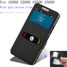 2pcs Smart view window cover For Lenovo A5860 A5890 A5500 A5600 case shell open phone battery A 5860 back