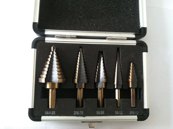 5pcs Step Drill Bit Set Hss Cobalt Multiple Hole 50 Sizes SAE Step Drills 1/4-1-3/8 3/16-7/8 1/4-3/4 1/8-1/2 3/16-1/2 Drill Bits pegasi high quality 5pcs 50 sizes hss