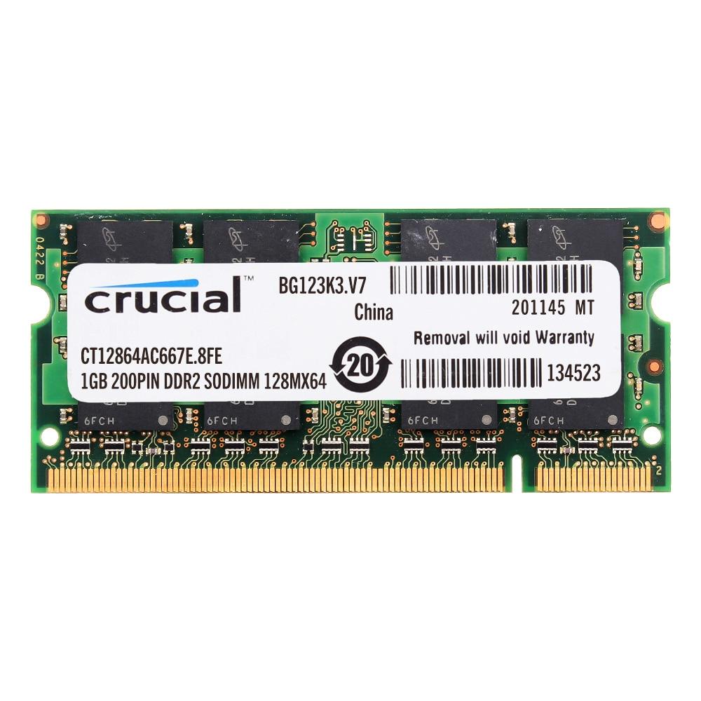 Crucial 2GB 4GB 8GB PC2-5300S DDR2-667Mhz 200pin CL5 1.8v Sodimm Laptop Memory
