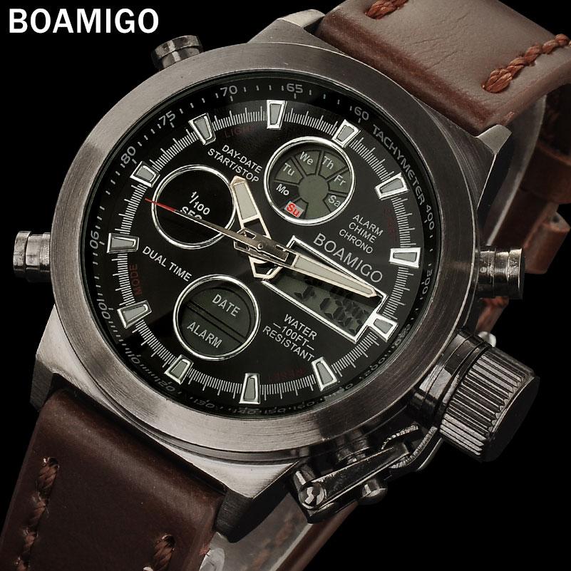 Prix pour BOAMIGO hommes sport montres brun bande de cuir homme militaire quartz LED numérique analogique casual montres étanche reloj hombre