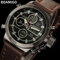 BOAMIGO men sports watches brown leather band man military quartz LED digital analog casual wristwatches waterproof reloj hombre