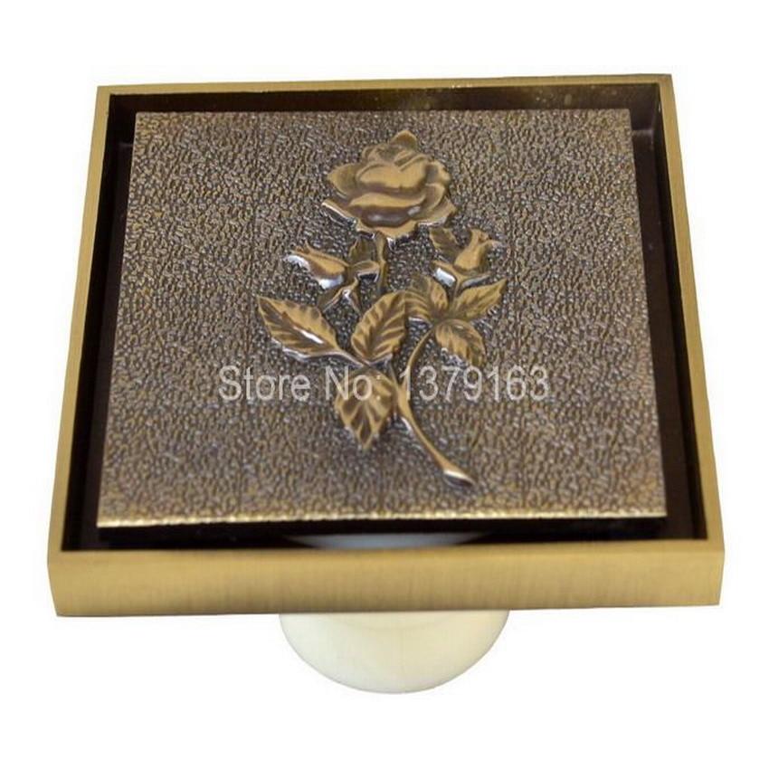 ⃝Nueva Antique Brass 3.9 cuadrado tallar Rosa patrón floor drain ...