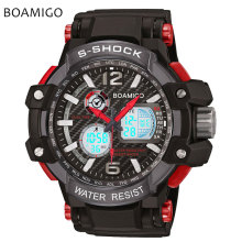S Shock Men Sports Watches BOAMIGO Brand Analog Digital LED Electronic Quartz Watches 50M Waterproof Swimming Watch Reloj Hombre