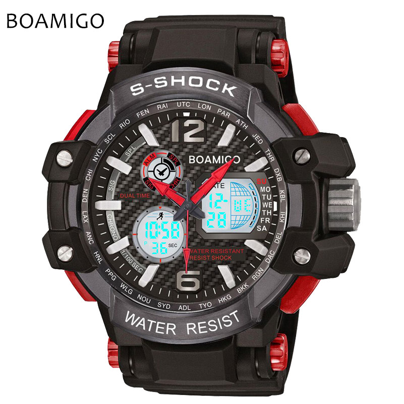 s shock men sports watches dual display analog digital LED Electronic quartz watches 50M waterproof BOAMIGO
