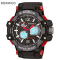 s shock men sports watches dual display analog digital LED Electronic quartz watches 50M waterproof BOAMIGO brand swimming watch