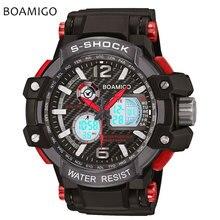S choque hombres deportes relojes dual display analógico digital led relojes electrónicos de cuarzo 50 m impermeable boamigo marca natación reloj