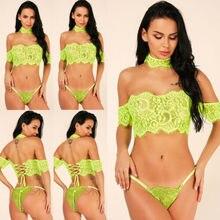 Off Shouder Top Lace Women's Sexy Flower Fluorescent Green Lingerie Crop Top NEW цена в Москве и Питере