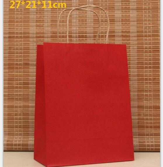 10 pçs/lote Vermelho saco de papel de presente com alça 27*21*11 cm Multifunções saco da festa de aniversário de casamento Elegante sapatos de pano sacos de papel