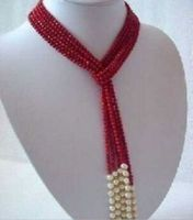 FREE SHIPPING>>>@@ 5MM Charming Red Coral & White Pearl Scarf Necklace