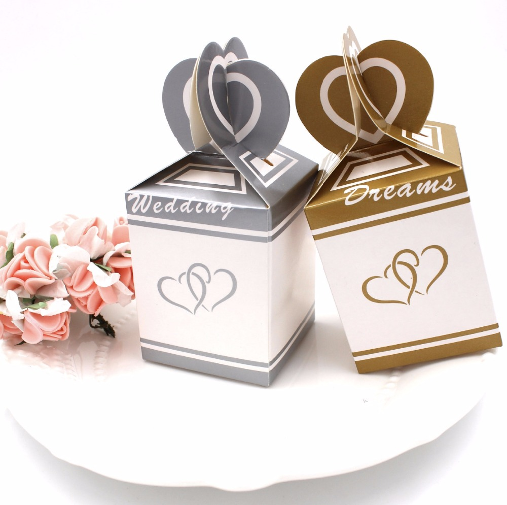 100pcs European Style love hearts Gold / Silver Wedding Favors Candy ...