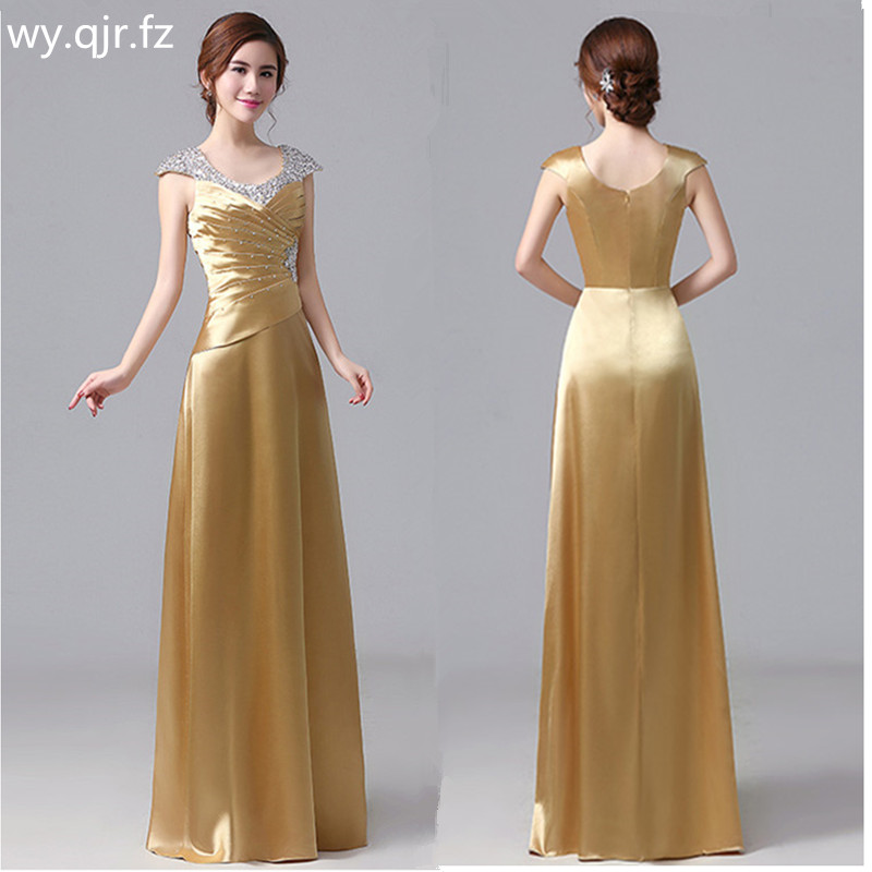 JYHS007G#new 2019 Autumn Fashion Golden Long Evening Dresses Bride Wedding Party Prom Dress Wine Red Cheap Wholesale Clothing