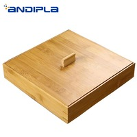 Creative Storage Box Natural Bamboo Puer Cake Drawer Pu'er Holder Shelf Tray Plate Separator Teaware Accessories Canister Decor|Tea Caddies| |  -