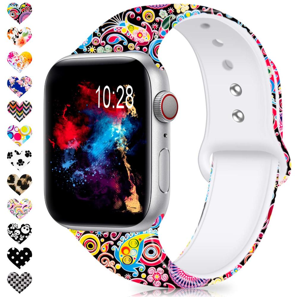 Sport Silicone Band For Apple Watch 38mm 42mm 40mm 44mm Soft Strap Cartoon New Style Woman Men Bracelet For Iwatch Series 4 3 2