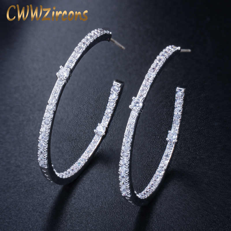 CWWZircons Fashion Ladies Loop Earring Round Circle Micro Pave Cubic Zirconia Crystal Large Silver Hoop Earrings Jewelry  CZ428