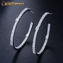 CWWZircons Fashion Ladies Loop Earring Round Circle Micro Pave Cubic Zirconia Crystal Large Silver Hoop Earrings Jewelry CZ428(China)