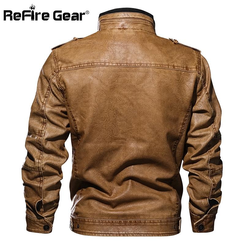 12b11393d ReFire Gear Men's PU Leather Jacket Winter Military Pilot Bomber Jackets  Autumn Fashion Outerwear Motorcycle Biker Leather Coat