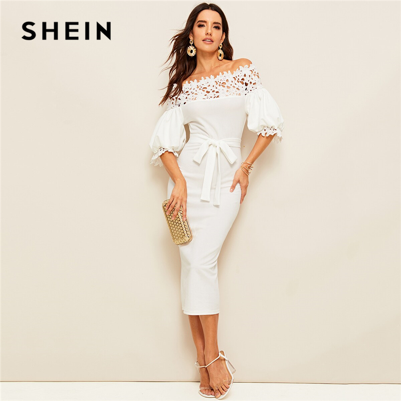 SHEIN Guipure Lace Yoke Bishop Sleeve Pencil Dress Women White Pencil Dress Summer Off Shoulder Solid Belted Bodycon Dresses