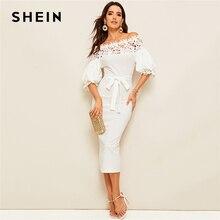 SHEIN guipur vestido de tubo de manga obispo, de encaje, color blanco, con hombros descubiertos, cinturón liso, ceñido al cuerpo