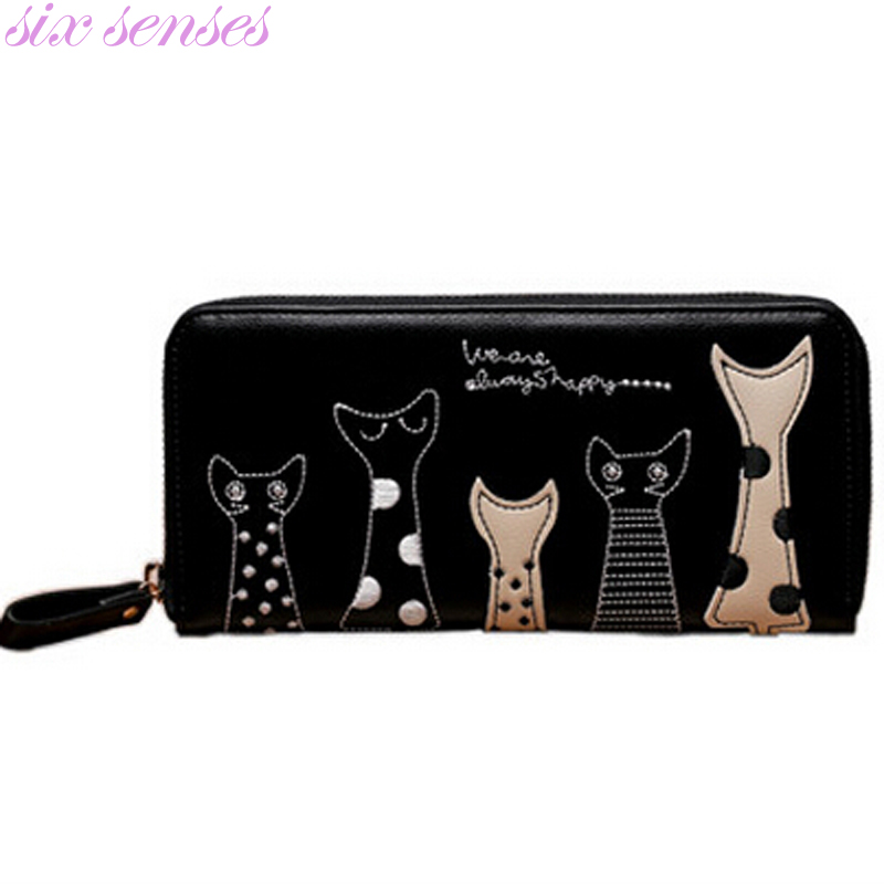 Six senses Women Wallet Fashion Ladies Cute Cartoon Cat PU Wallet Coin Purses  Girl Holders Long Wallet Clutch Money Bags LL1448 cute cartoon cat pattern pu long wallet for women watermelon red