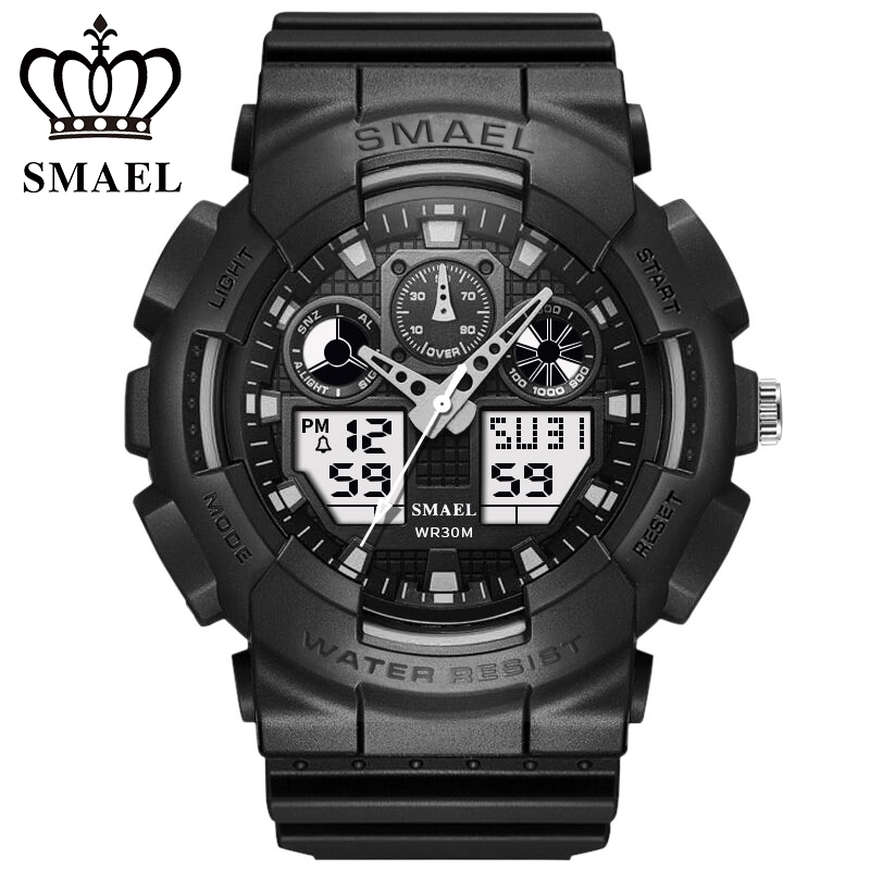 SMAEL Dual Display Electronic Mens Watch G Sport Military S Shock Analog-digital Quartz Wrist Watches for Men Saat Reloj Hombre smael 1708b