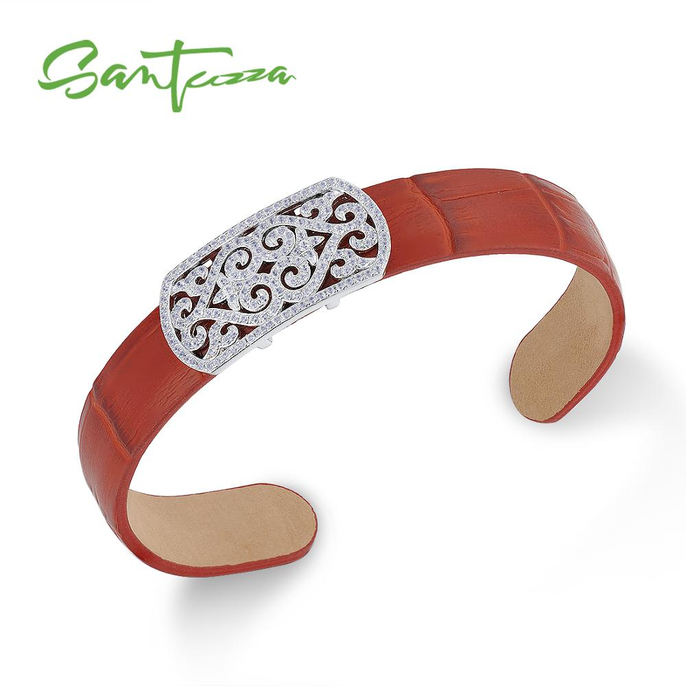 SANTUZZA Silver Bracelet Bangles for Women Men 925 Sterling Silver Adjustable Bangle Red Genuine Leather Chic Fashion Jewelry chic faux leather woven bracelet for men