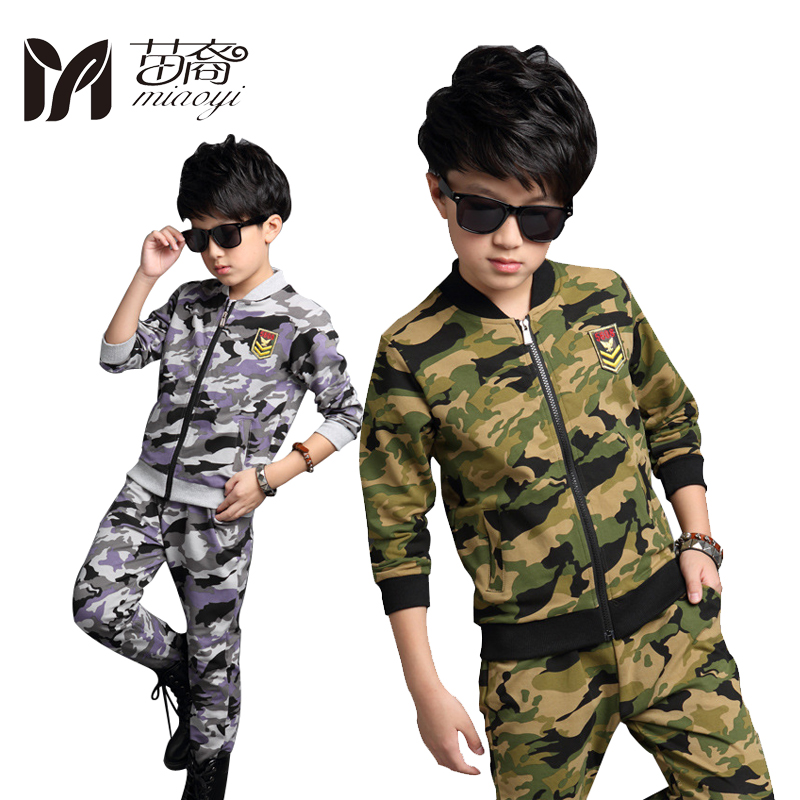 New Fashion Boys Camouflage Tracksuits Army Green Kids Long 2016 Autumn Sleeve Jacket Outfit Clothing Sets Age + Pants