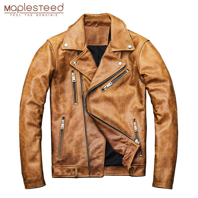 MAPLESTEED Natural Oil Wax Calf Skin Jackets Men Leather Jacket Thick Turn Down Collar Yellow Brown Men's Skin Coat Winter M098
