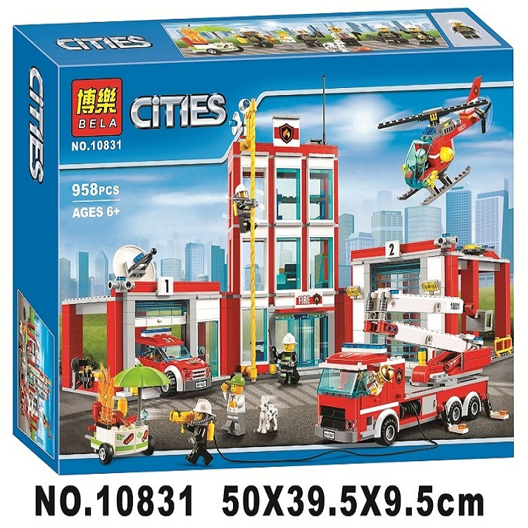 958pcs City Series The Fire Station Model Building Block Brick Toy For Children birthday Gift 10831