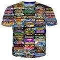 Colagem T-Shirt Chocobo Pikachu Kirby Mario Arcade arcade estilo Personagem de Banda Desenhada camiseta Mulheres/Homens Estilo Verão tops t