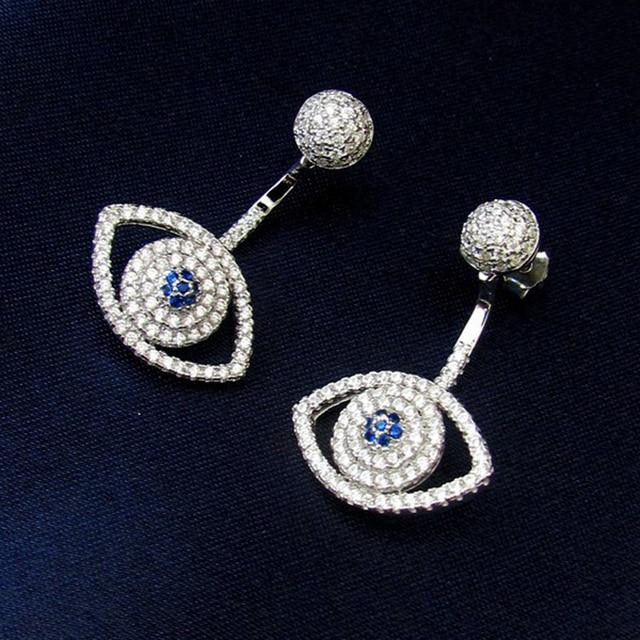 Hot Fashion Silver Evil Eye Earrings High Quality 925 Sterling Silver Big Blue EyeS Drop New Earrings For Women