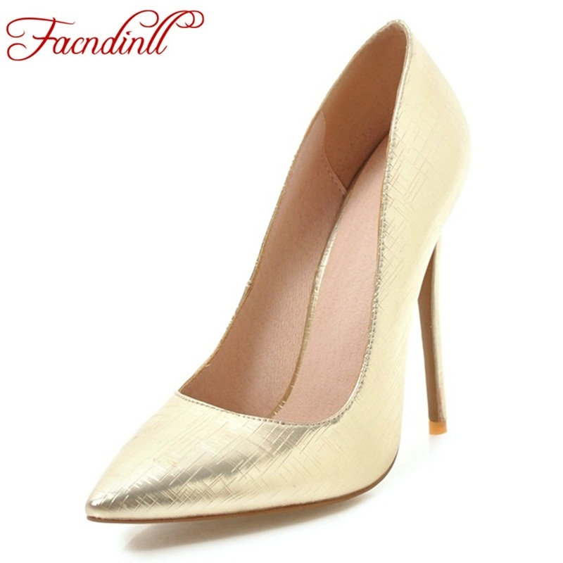 FACNDINLL fashion patent leather shoes women nude pumps sexy high heels pointed toe shoes woman gold silver party wedding shoes size34 39 shoes woman red pumps high heels 9 cm party wedding shoes patent leather pointed toe sexy black nude womens shoes