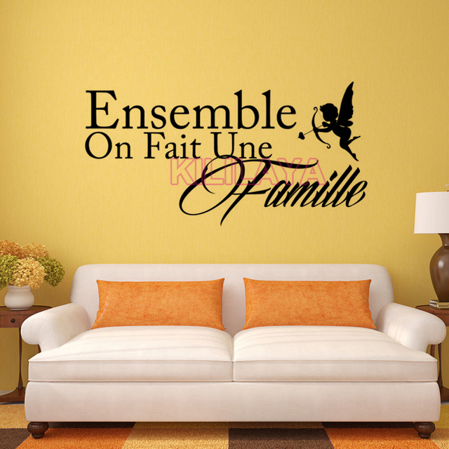 Stickers French Citation Ensemble On Fait Une Famille Vinyl Wall Sticker Decals Art Wallpaper Living Room
