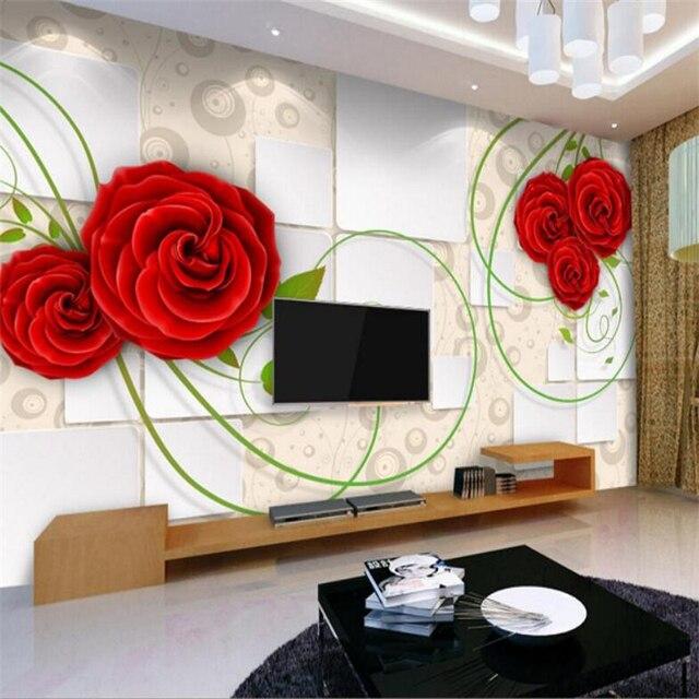 Beibehang 3 d benutzerdefinierte fototapete home dekoration rote ...
