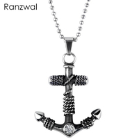 Ranzwal 316L Stainless Steel Anchor Pendant Necklace for Men 60cm Chain Necklace with Cubic Zirconia Punk Jewelry MNE051