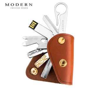 Image 4 - Carteira inteligente de couro legítimo, moderna, 100%, diy, chaveiro, edc, mini, bolso, suporte para chaves, organizador de chave