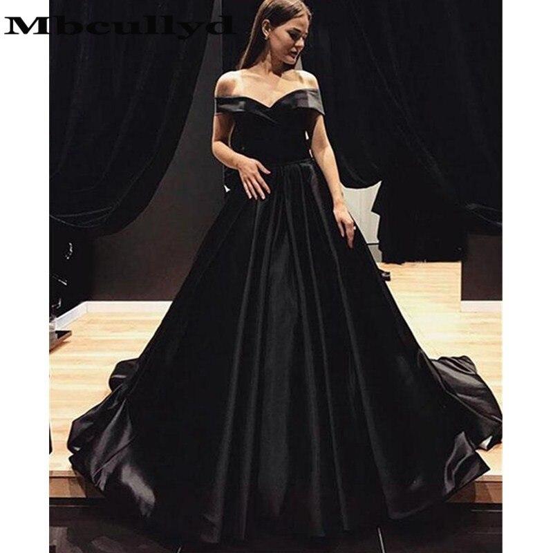 Mbcullyd Elegant Satin Black   Evening     Dresses   2019 Sexy Off Shoulder A-Line Prom Party Gowns Formal vestidos de fiesta de noche
