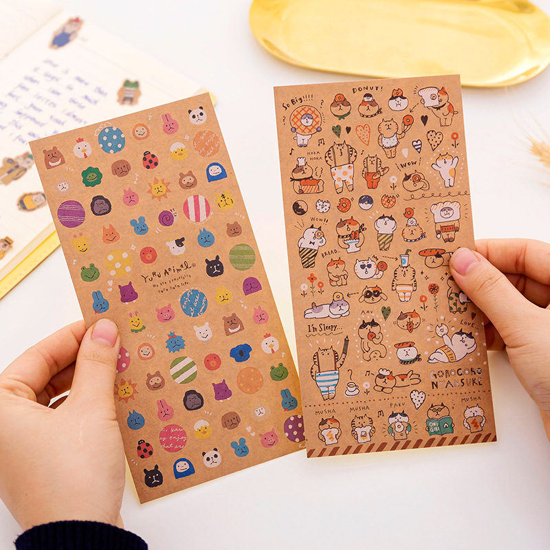 1PCS Japanese Kraft Paper Cute Cat Sticker Diary Decorate PVC Transparent Scrapbooking Stationery Stickers Supplies