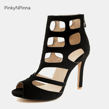 women's ankle sandal boots suede cut out peep toe high thin heels fashion summer runway dress shoes ladies booties plus size 44 peep toe shallow shaped stiletto woman sandal boots thin high heels black suede leather lady sexy ankle booties slip on shoes