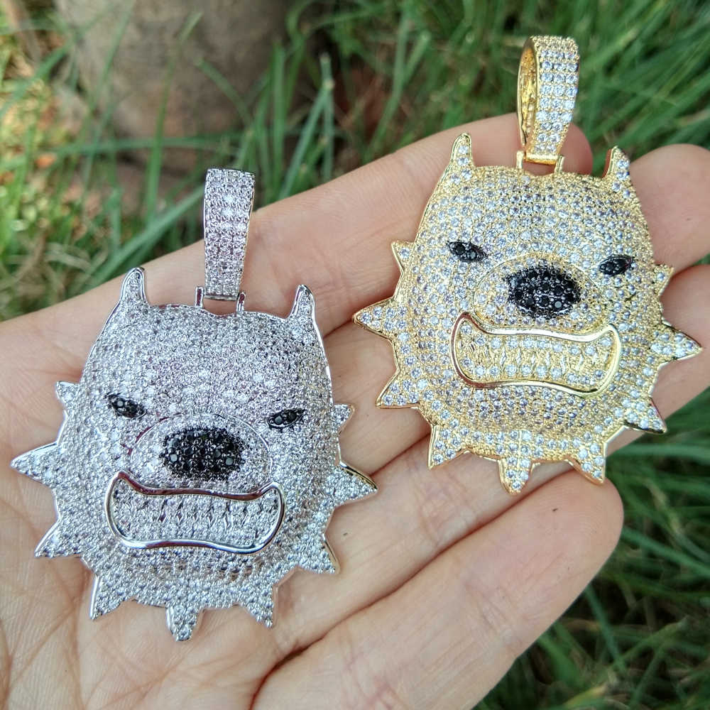 ผู้ชายเย็นทองเหลือง CZ Fierce Dog Face Bully Dog จี้และสร้อยคอเครื่องประดับ Hip Hop CN087