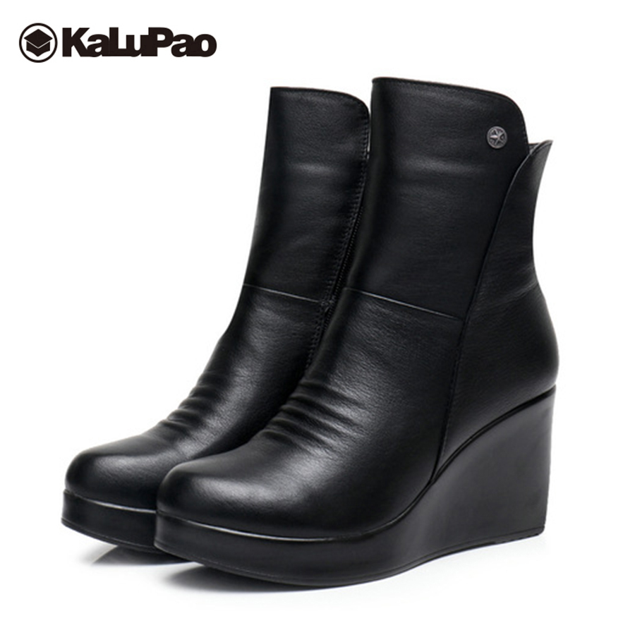 Kalupao genuine leather boots women high heel black mid calf snow boots women platform fur winter warm snow boots waterproof platform bowkont flocking snow boots page 3