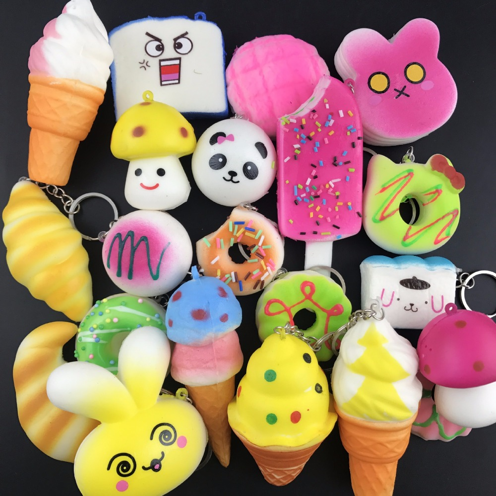 Купить с кэшбэком Squishy Antistress Toys For Children Slow Rising Funny Gadgets Kids Stress Relief Cute Squisy Keychain New Squeeze Squichy