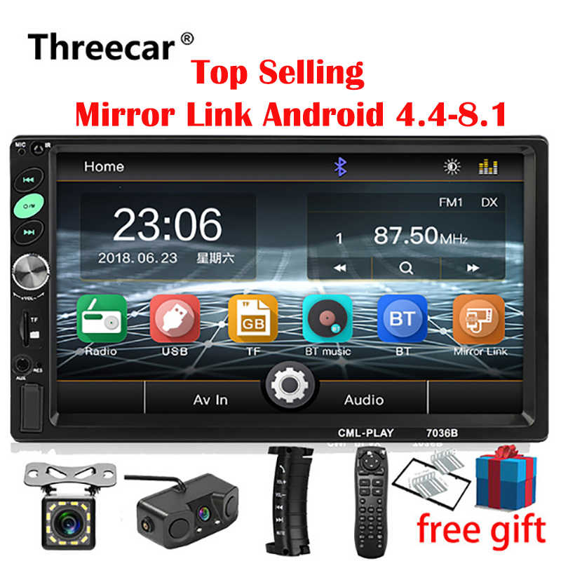 2din Autoradio 7 Inch Touch Mirrorlink Android Speler Subwoofer MP5 Speler Autoradio Bluetooth Achteruitrijcamera Tape Recorder