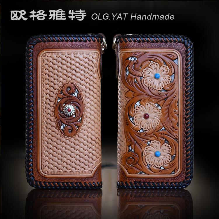 OLG.YAT handmade women wallets long zipper handbag womens purse retro bags Vegetable tanned leather wallet cowhide Snakeskin bag