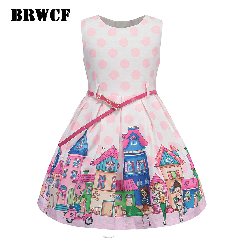 BRWCF Summer girls dress cartoon print princess dress 2017 new sleeveless Children clothes Fashion belt for party and wedding brwcf flower girls dress for party wedding birthday 2017 summer princess dresses leopard printing children clothes 2 8years