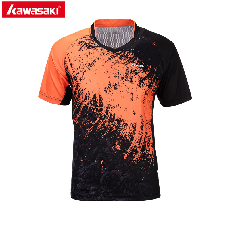 2018 Kawasaki  New style Badminton Shirt  Breathable V-Neck Badminton Shirts Men Outdoor Quick Dry Table Tennis shirts  ST-T1021