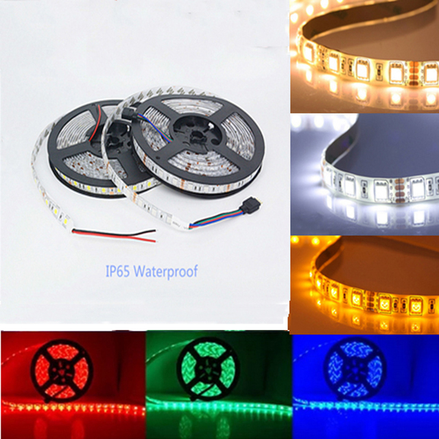 5M LED strip 5050 IP65 Waterproof 60LED/M DC12V Flexible LED Light Strip RGB CoolWhite Warm White Blue led