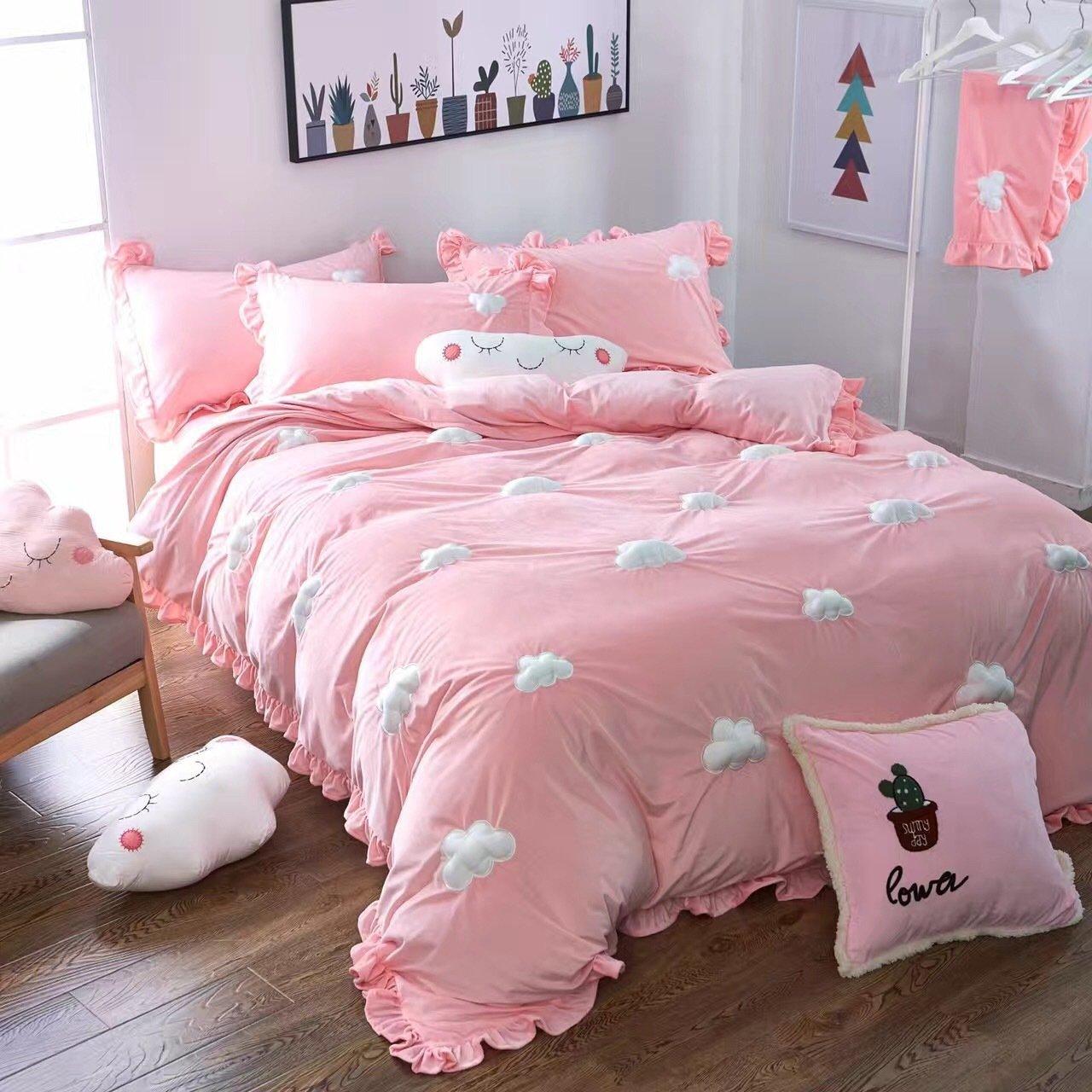 WINLIFE Домашний текстиль Вышивка Милые 3D облако Ультра мягкий коралловый бархат набор пододеяльников для пуховых одеял комплект мятая