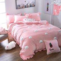 WINLIFE Home Textiles Embroidery Cute 3D Cloud Ultra Soft Coral Velvet Duvet Cover Set Wrinkled Bedding Set