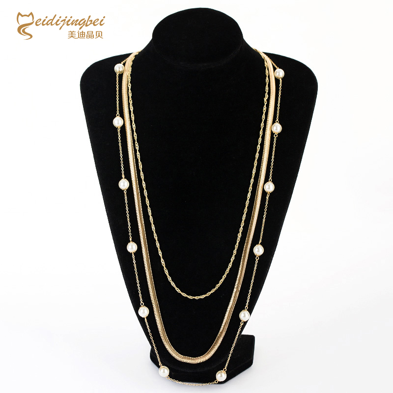 Best deal MEIDIJINGBEI fashion pearl necklace alloy electroplating